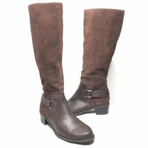 Aerosoles After Hours Brown Leather Suede Side Zip